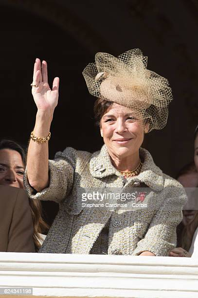Princess Caroline of Hanover greets the crowd from the palace's balcony during the Monaco National Day Celebrations on November 19, 2016 in Monaco,...