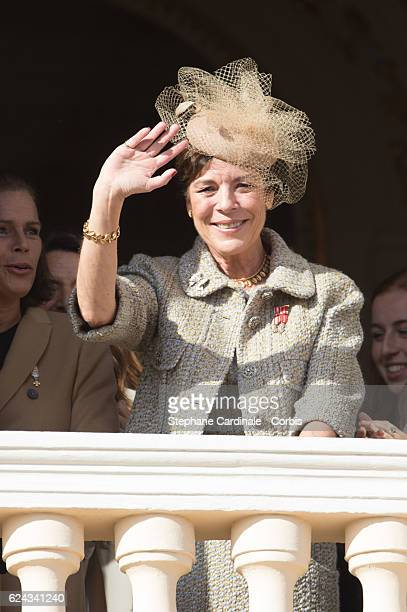 Princess Caroline of Hanover greets the crowd from the palace's balcony during the Monaco National Day Celebrations on November 19 2016 in Monaco...