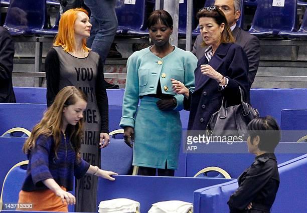 Princess Caroline of Hanover her daughter Alexandra former figure skater Marina Anissina and former figure skater Surya Bonaly leave their seats...