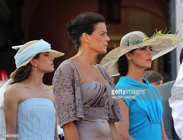 Princess Caroline of Hanover her daughter Charlotte Casiraghi and Princess Stephanie of Monaco arrive for a ceremony in honour of Prince Albert II of...