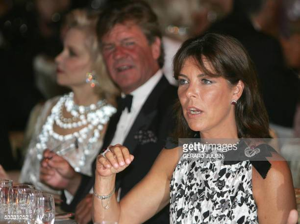 Princess Caroline of Hanover her husband Prince Ernst August of Hanover 05 August 2005 during a dinner at the annual Red Cross Ball or Bal de la...