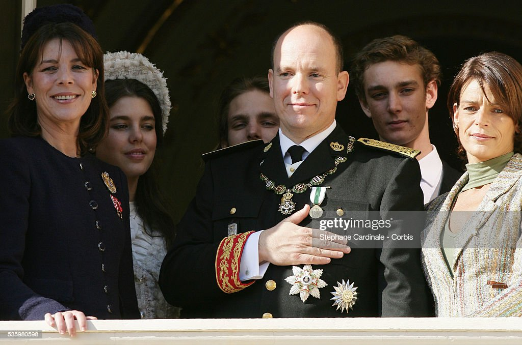 HRH Princess Caroline of Hanover, HRH Prince Albert II of Monaco, Charlotte Casiraghi and HRH Princess Stephanie of Monaco at the balcony of the Monaco royal palace.