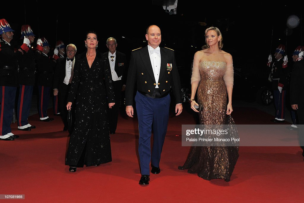 Princess Caroline of Hanover, HSH Albert II of Monaco and Charlene Wittstock arrive to attend the Monaco National day Gala concert at Grimaldi forum on November 19, 2010 in Monaco, Monaco.