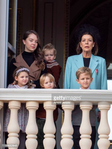 Princess Caroline of Hanover India Casiraghi Alexandra of Hanover Stefano Casiraghi and Alexandre Casiraghi pose at the Palace balcony during the...
