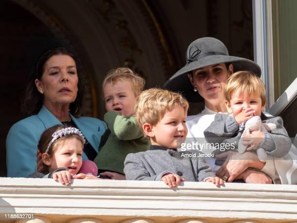 Princess Caroline of Hanover India Casiraghi Tatiana Casiraghi Stefano Casiraghi and Alexandre Casiraghi pose at the Palace balcony during the Monaco...