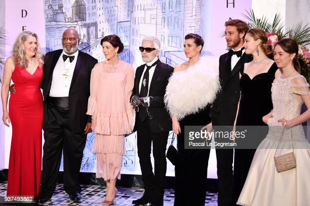 Princess Caroline of Hanover Karl Lagerfeld Charlotte Casiraghi Pierre Casiraghi Beatrice Casiraghi and Princess Alexandra of Hanover arrive at the...