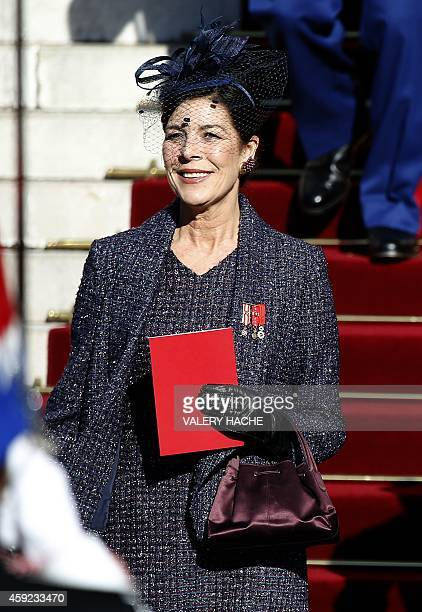 Princess Caroline of Hanover leaves the cathedral after a mass during the celebrations marking Monaco's National Day on November 19 2014 in Monaco...
