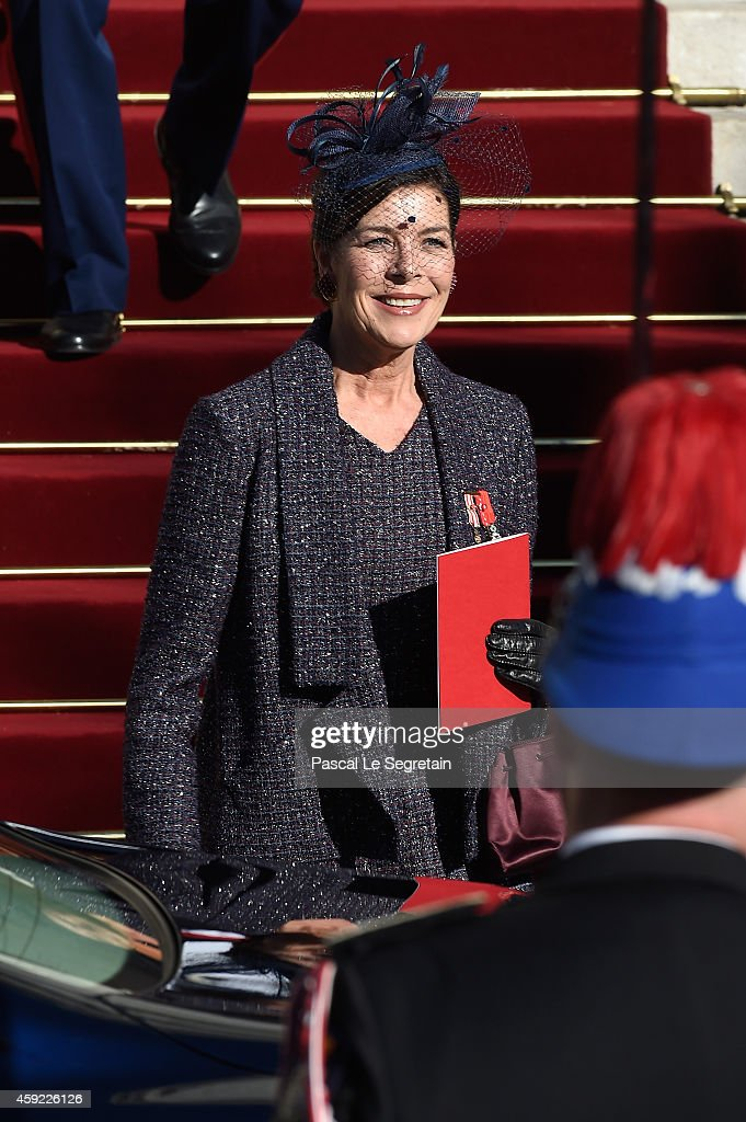 Princess Caroline of Hanover leaves the Cathedral of Monaco during the official ceremonies for the Monaco National Day at Cathedrale Notre-Dame-Immaculee de Monaco on November 19, 2014 in Monaco, Monaco.