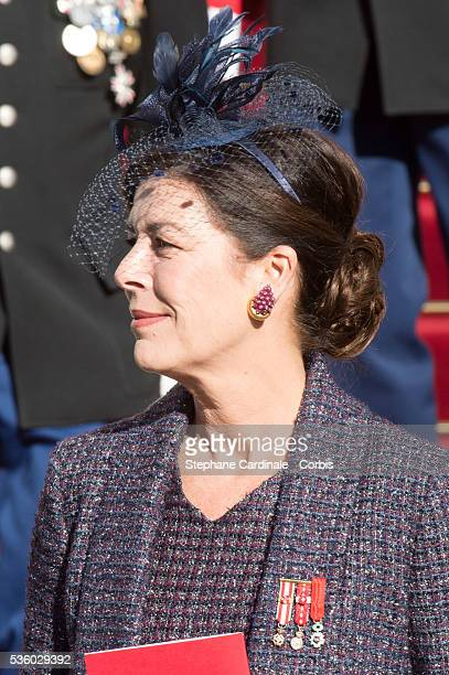 Princess Caroline of Hanover leaves the Celebration of Mass at Cathedral Notre Dame Immaculee during the Celebrations of Monaco National Day in Monaco