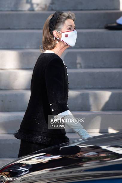Princess Caroline of Hanover leaves the Monaco cathedral after a mass during the Monaco National day celebrations on November 19, 2020 in...