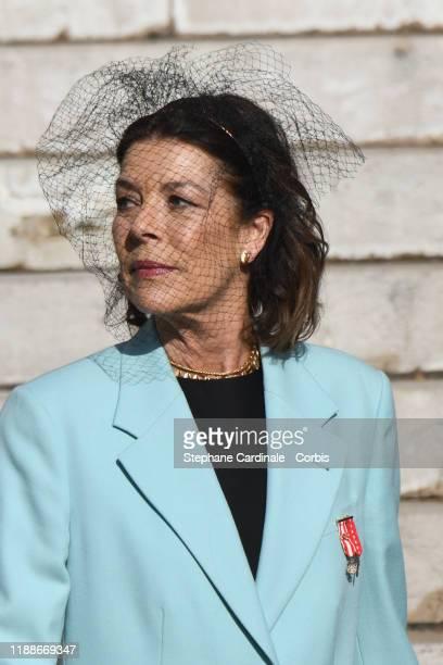 Princess Caroline of Hanover leaves the Monaco Cathedral during the Monaco National Day Celebrations on November 19 2019 in MonteCarlo Monaco