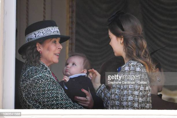 Princess Caroline of Hanover, Maximilian Casiraghi and Princess Alexandra of Hanover attend Monaco National Day Celebrations on November 19, 2018 in...