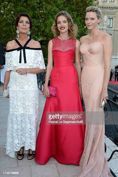 Princess Caroline of Hanover Natalia Vodianova and Princess Charlene of Monaco attend the cocktail at the 'Love Ball' hosted by Natalia Vodianova in...