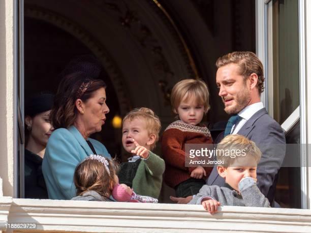 Princess Caroline of Hanover, Pierre Casiraghi with Francesco Casiraghi, India Casiraghi, Stefano Casiraghi and Alexandre Casiraghi stand at the...
