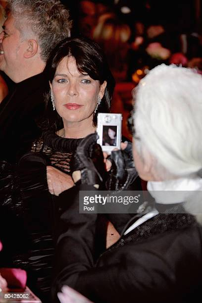 Princess Caroline of Hanover poses for Karl Lagerfeld as she attends the 2008 Monte Carlo Rose Ball 'Movida' dinner held at The Sporting Monaco on...