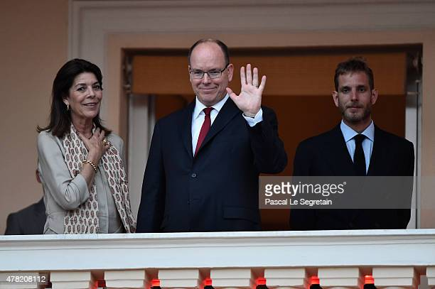 Princess Caroline of Hanover Prince Albert II of Monaco and Andrea Casiraghi attend the 'Fete de la St Jean' procession on June 24 2015 in Monaco...