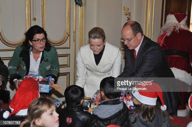 Princess Caroline Of Hanover Prince Albert II of Monaco and Charlene Wittstock attend the 'Arbre de Noel' for Monaco children on December 15 2010 in...