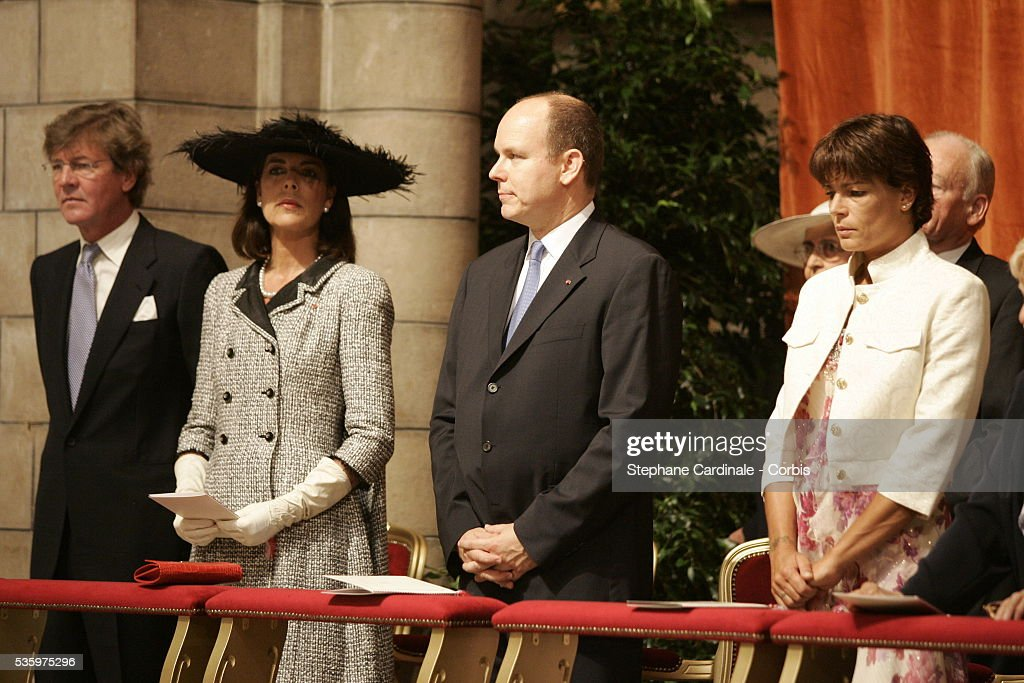 Princess Caroline of Hanover, Prince Albert II of Monaco and his sister Princess Stephanie of Monaco attend the enthronement mass in Monaco Cathedral. Prince Albert II, 47, took over as ruler of the principality following the death of his father, Prince Rainier in April.