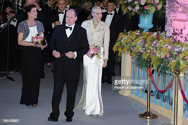 Princess Caroline of Hanover Prince Albert II of Monaco and Princess Charlene of Monaco attend the 'Bal De La Rose Du Rocher' in aid of the Fondation...
