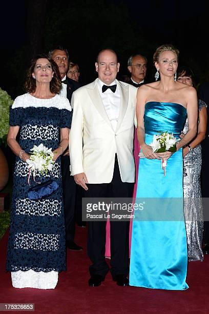 Princess Caroline of Hanover Prince Albert II of Monaco and Princess Charlene of Monaco attend the 65th Monaco Red Cross Ball Gala at Sporting...