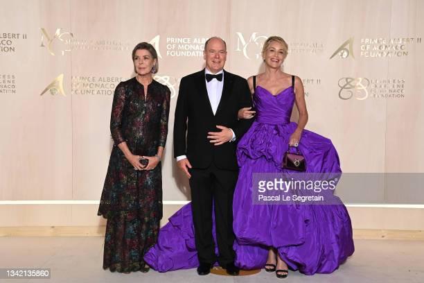 Princess Caroline of Hanover, Prince Albert II of Monaco and Sharon Stone attend the 5th Monte-Carlo Gala For Planetary Health on September 23, 2021...