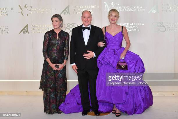 Princess Caroline of Hanover, Prince Albert II of Monaco and Sharon Stone attend the photocall during the 5th Monte-Carlo Gala For Planetary Health...