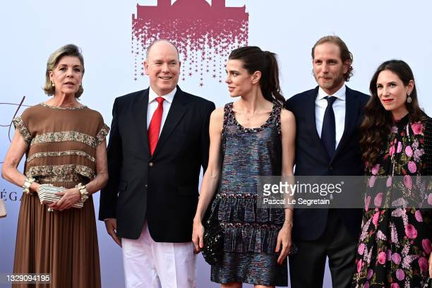 Princess Caroline of Hanover, Prince Albert II of Monaco, Charlotte Rassam, Andrea Casiraghi and Tatiana Santo Domingo attend the Red Cross Summer...
