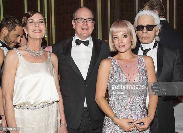 Princess Caroline of Hanover Prince Albert II of Monaco Lily Allen and Karl Lagerfeld attend the Rose Ball 2015 in aid of the Princess Grace...