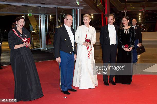 Princess Caroline of Hanover Prince Albert II of Monaco Princess Charlene of Monaco Andrea Casiraghi and Tatiana Santo Domingo arrive at a Gala...