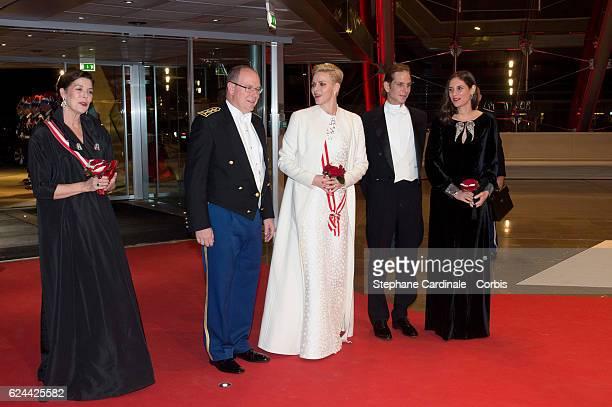 Princess Caroline of Hanover Prince Albert II of Monaco Princess Charlene of Monaco Andrea Casiraghi and Tatiana Santo Domingo arrive at a Gala at...