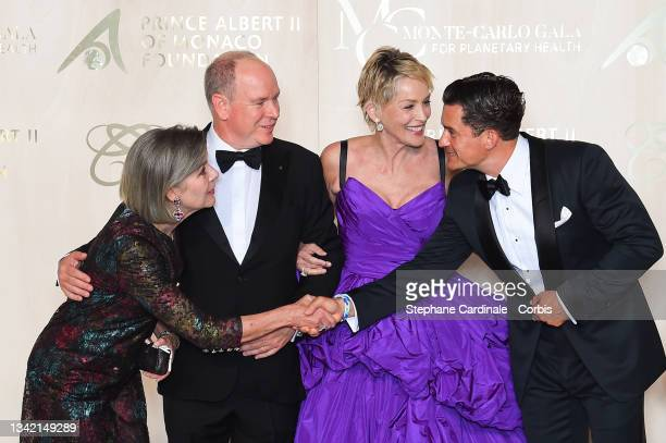 Princess Caroline of Hanover, Prince Albert II of Monaco, Sharon Stone and Orlando Bloom attend the photocall during the 5th Monte-Carlo Gala For...