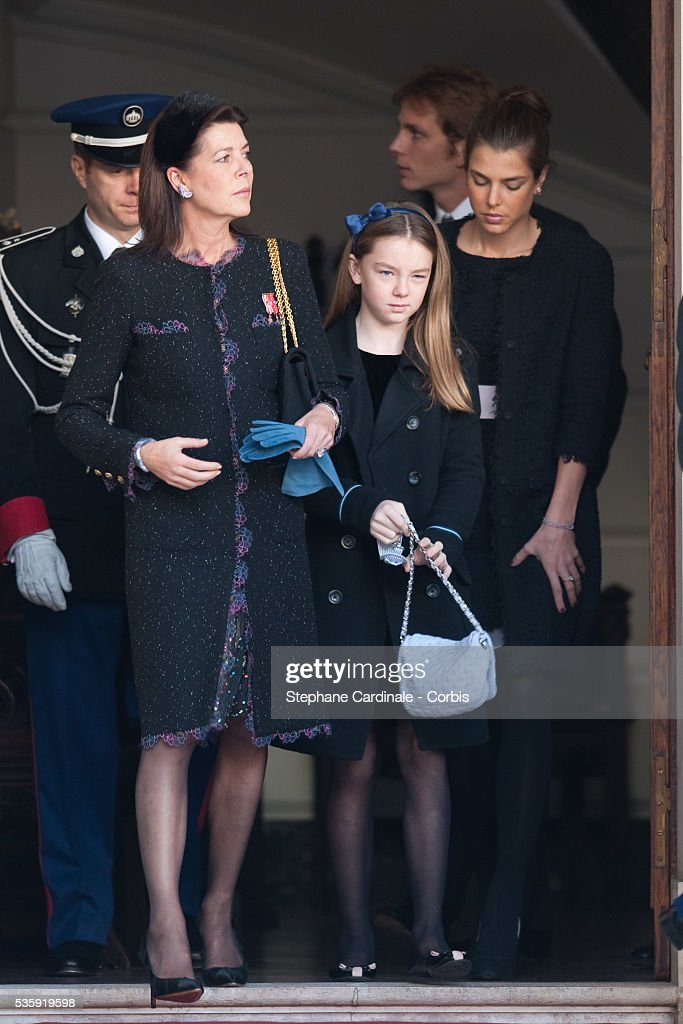 Princess Caroline of Hanover, Princess Alexandra of Hanover and Charlotte Casiraghi attend the Award Ceremony for badges of rank and medals for employees at the Prince's Palace as part of Monaco's National Day celebrations in Monaco.