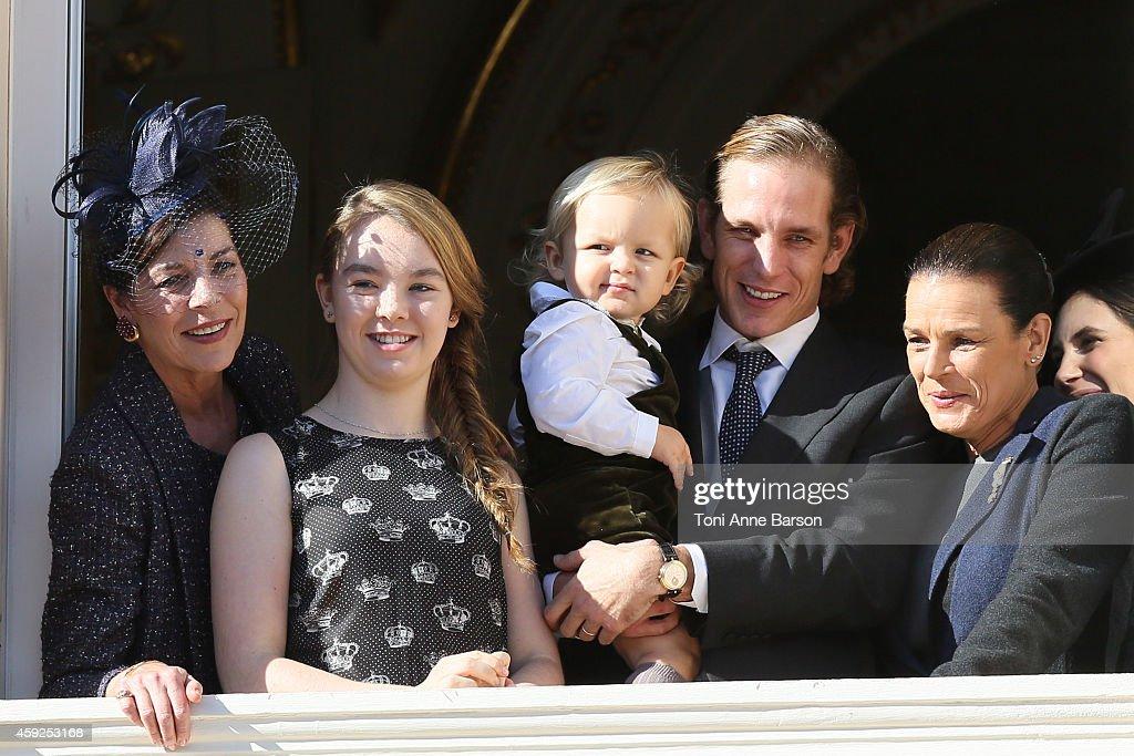 Princess Caroline of Hanover, Princess Alexandra of Hanover, Sacha Casiraghi, Andrea Casiraghi and Princess Stephanie of Monaco attend the National Day Parade as part of Monaco National Day Celebrations at Monaco Palace on November 19, 2014 in Monaco, Monaco.
