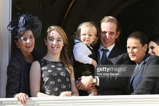 Princess Caroline of Hanover Princess Alexandra of Hanover Sacha Casiraghi Andrea Casiraghi and Princess Stephanie of Monaco attend the National Day...