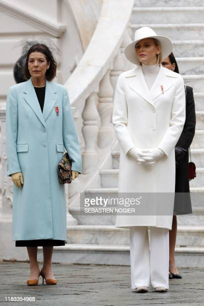 Princess Caroline of Hanover; Princess Charlene of Monaco and Princess Stephanie of Monaco attend the celebrations marking Monaco's National Day at...