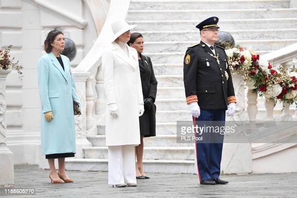 Princess Caroline of Hanover Princess Charlene of Monaco Princess Stephanie of Monaco and Prince Albert II of Monaco attend the Monaco National Day...