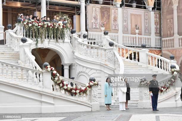 Princess Caroline of Hanover Princess Charlene of Monaco Princess Stephanie of Monaco and Prince Albert II of Monaco attend the Monaco National Day...