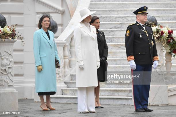 Princess Caroline of Hanover Princess Charlene of Monaco Princess Stephanie of Monaco and Prince Albert II of Monaco attend the celebrations marking...
