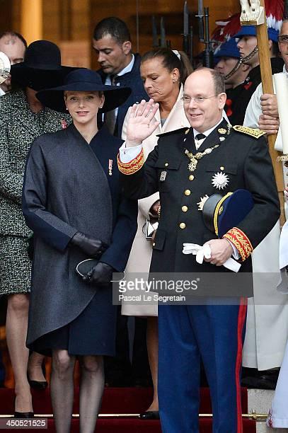 Princess Caroline of Hanover Princess Charlene of Monaco Princess Stephanie of Monaco and Prince Albert II of Monaco leave the Cathedral of Monaco...