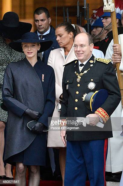 Princess Caroline of Hanover Princess Charlene of Monaco Princess Stephanie of Monaco and Prince Albert II of Monaco leave the Cathedral of Monaco...