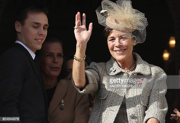 Princess Caroline of Hanover , Princess Stephanie of Monaco and her son Louis Ducruet appear on the balcony of the Monaco Palace during the...