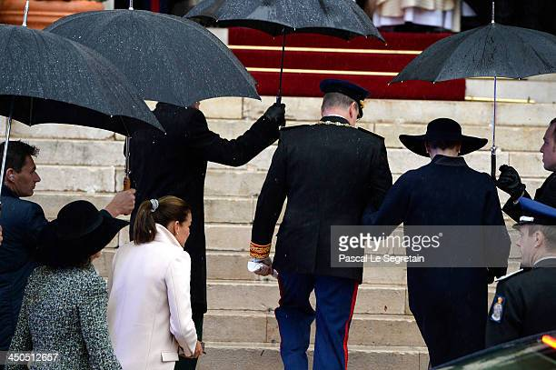 Princess Caroline of Hanover Princess Stephanie of Monaco Prince Albert II of Monaco and Princess Charlene of Monaco arrive at the Cathedral of...