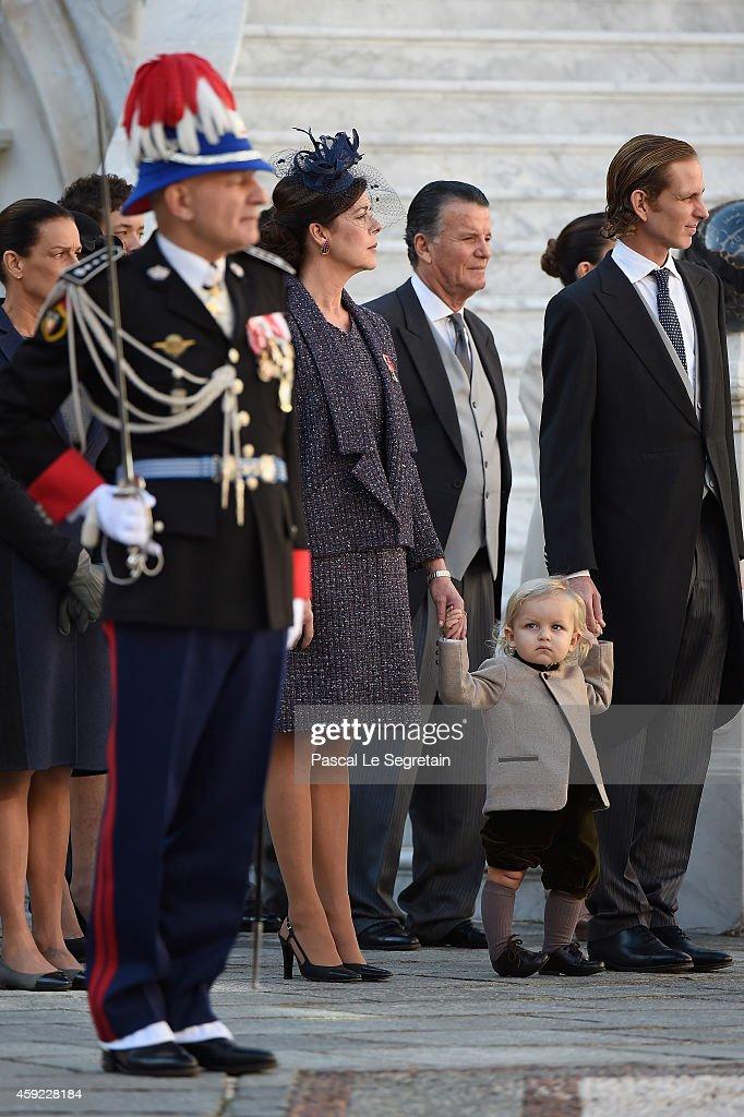 Princess Caroline of Hanover, Sacha Casiraghi and Andrea Casiraghi attend the Monaco National Day Celebrations in the Monaco Palace Courtyard on November 19, 2014 in Monaco, Monaco.