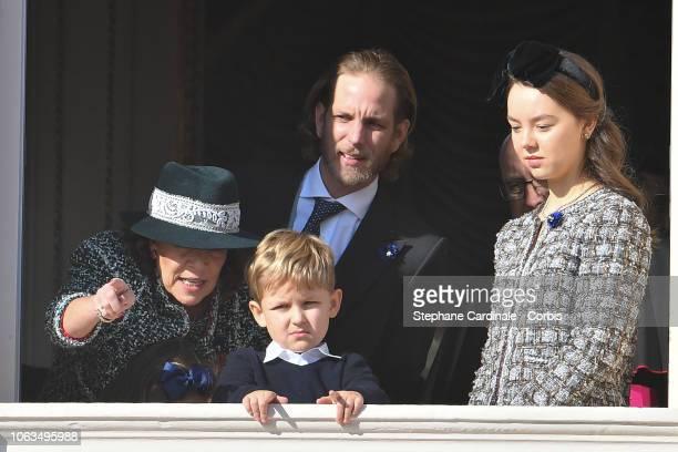 Princess Caroline of Hanover Sacha Casiraghi Andrea Casiraghi and Princess Alexandra of Hanover attend Monaco National Day Celebrations on November...