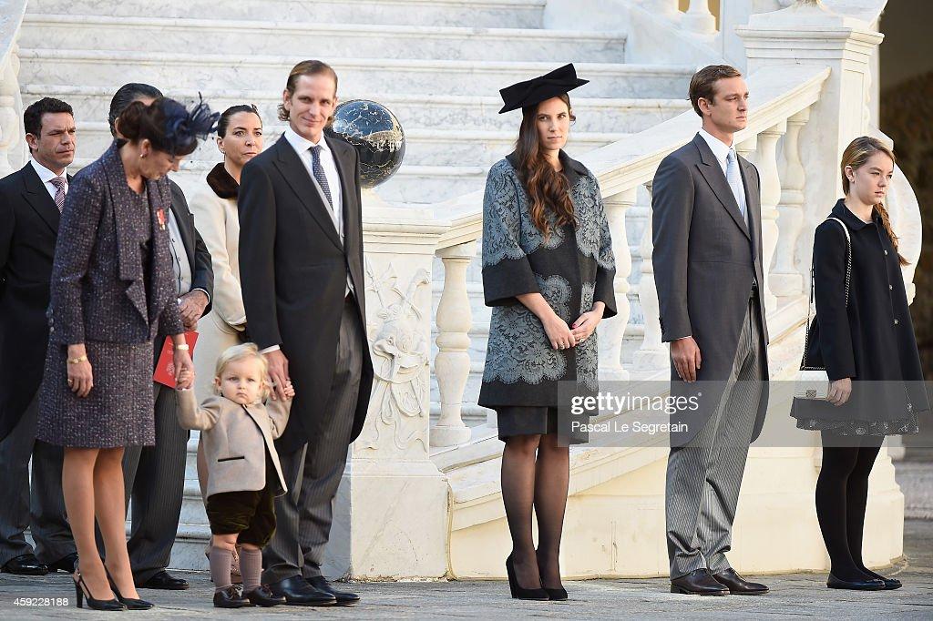 Princess Caroline of Hanover, Sacha Casiraghi, Andrea Casiraghi, Tatiana Santo Domingo, Pierre Casiraghi and Princess Alexandra of Hanover attend the Monaco National Day Celebrations in the Monaco Palace Courtyard on November 19, 2014 in Monaco, Monaco.