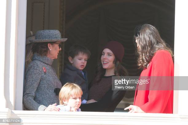 Princess Caroline of Hanover Sacha Casiraghi Raphael Casiraghi Charlotte Casiraghi and Tatiana Casiraghi greet the crowd from the palace's balcony...