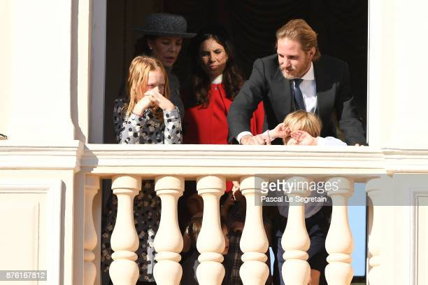 Princess Caroline of Hanover Tatiana Casiraghi Andrea Casiraghi and his son Sacha greet the crowd from the palace's balcony during the Monaco...