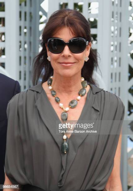 Princess Caroline of Hanover visits the 43e Concours International de Bouquets and the 13th Reveries sur les Jardins Show at the Casino Terraces on...