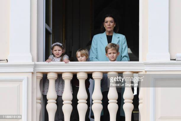 Princess Caroline of Hanover with children India Casiraghi Stefano Casiraghi and Alexandre Casiraghi pose at the Palace balcony during the Monaco...