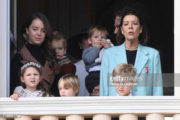 Princess Caroline of Hanover with children Princess Alexandra of Hanover India Casiraghi Stefano Casiraghi and Alexandre Casiraghi pose at the Palace...